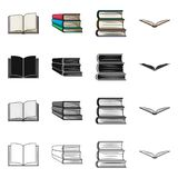 Vector design of library and textbook icon. Set of library and school vector icon for stock. Vector illustration of library and textbook symbol. Collection of stock illustration