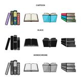 Vector illustration of library and textbook symbol. Set of library and school vector icon for stock. Isolated object of library and textbook sign. Collection of stock illustration
