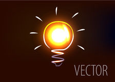 Vector illustration of light bulb. With light effects Stock Photography