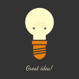 Vector illustration of light bulb. Vector illustration of ligh bulb in flat and simple design. Perfect illustration for great ideas. Dark background, mild colors Stock Photography
