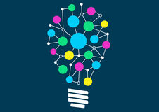 Vector illustration of light bulb with network of different objects or ideas. Concept of ideation or creativity. Royalty Free Stock Images