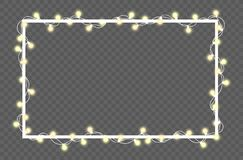 Vector illustration of light garland. And frame isolated on background. Glowing light with place for text. Set of color string Christmas, New Year garlands Royalty Free Stock Photo
