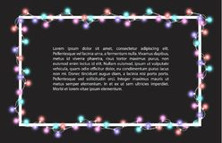 Vector illustration of light garland. And frame isolated on background. Glowing light with place for text. Set of color string Christmas, New Year garlands Stock Photos