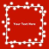 Vector illustration of light garland. And frame isolated on background. Glowing light with place for text. Set of color string Christmas, New Year garlands Royalty Free Stock Image