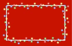 Vector illustration of light garland. And frame isolated on background. Glowing light with place for text. Set of color string Christmas, New Year garlands Royalty Free Stock Images