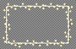 Vector illustration of light garland. And frame isolated on background. Glowing light with place for text. Set of color string Christmas, New Year garlands Royalty Free Stock Photos