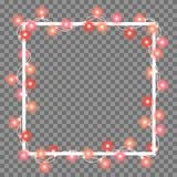 Vector illustration of light garland. And frame isolated on background. Glowing light with place for text. Set of color string Christmas, New Year garlands Royalty Free Stock Photography