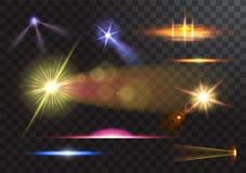 Vector light sources, concert lighting, stage spotlights set. Concert spotlight with beam, illuminated spotlights for. Vector illustration of light sources royalty free illustration