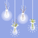 Vector illustration with lightbulb, pussy willow and snowdrops Royalty Free Stock Images