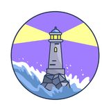 Banner Depicting Lighthouse during Night Storm. Vector illustration of lighthouse during night while waves are rising and sea is raging due to storm. Circle stock illustration