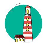 Vector illustration of lighthouse on the sea. lighthouse on rounded background. Royalty Free Stock Image