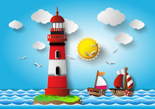 Vector illustration  lighthouse with seascape. Royalty Free Stock Images