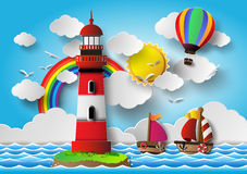Vector illustration  lighthouse with seascape. Stock Photography
