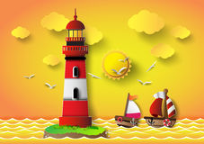 Vector illustration  lighthouse with seascape Stock Photos