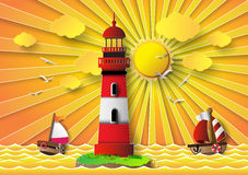 Vector illustration  lighthouse with seascape Royalty Free Stock Photo