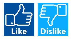 Like dislike hands facebook logo Royalty Free Stock Photography