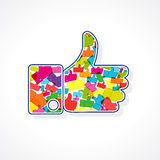 The vector illustration of like sign. Thumb up card for social networks followers and friends, likes and shares. The vector multi colored illustration of like Royalty Free Stock Photography