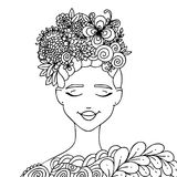 Vector illustration zentangl girl with butterflies in flowers. Coloring book anti-stress for adults. Black and white. Vector illustration, line art, girl with Royalty Free Stock Photos
