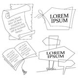 Vector illustration. Line graphic. Icons for text. Royalty Free Stock Photos