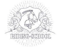 Vector illustration. Line graphic. Riding academy template. Royalty Free Stock Images