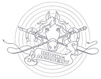 Vector illustration. Line graphic. Riding academy template. Royalty Free Stock Image