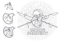 Vector illustration. Line graphic. Riding academy template. Stock Photos
