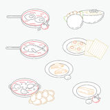 Vector illustration of line Israeli culture food icons. Royalty Free Stock Photos
