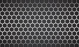 Vector Illustration line white hexagon with black background. royalty free stock image