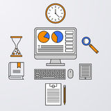 Vector illustration of a linear design computer, clock, tablet.  Stock Images