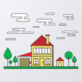 Vector illustration of a linear design house with trees Royalty Free Stock Images