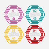 Vector illustration of a linear infographics four hexagon. Royalty Free Stock Photography