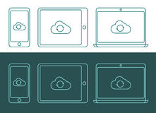 Vector illustration of linear style cloud computing icons Stock Images