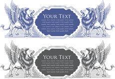 vector illustration of Lion badge design for card Royalty Free Stock Photography