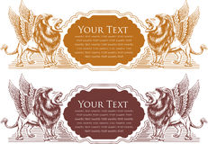 Vector illustration of Lion badge design for card Stock Photo