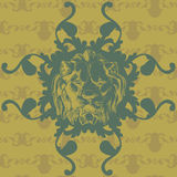 Vector illustration with lion and baroque. A seamless vector background in Baroque style Royalty Free Stock Photography