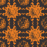 Vector illustration with lion and baroque. A seamless vector background in Baroque style Stock Photo