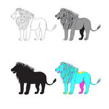 Vector illustration of a lion. black-and-white line, silhouette, color, gray-scale image. Stock Photo
