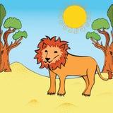 Vector illustration of lion. Colouring book. Cute lion cartoon walking near the tree. Vector illustration Stock Image
