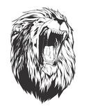 Vector illustration with lion head. Lion head. Monochromatic logo for your t-shirt Stock Images
