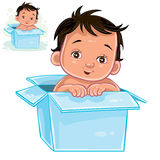 Vector illustration of little baby with swarthy skin sitting in box. Stock Photo