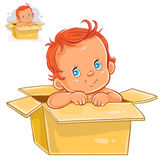 Vector illustration of little baby with white skin sitting in box. Stock Image