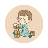 Vector illustration: little boy and cubes Royalty Free Stock Photos