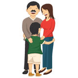 Vector Illustration Of A Little Boy Hugging Parent Stock Photos