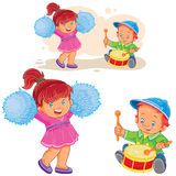 Vector illustration of a little boy knocking out a shot on the drum while a cheerful girl is dancing with pom-poms Stock Images