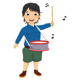 Vector Illustration Of A Little Boy Playing Drum. 