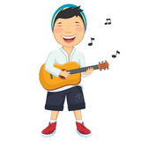 Vector Illustration Of A Little Boy Playing Guitar. 