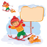 Vector illustration of a little boy skiing Royalty Free Stock Photos