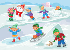 Vector illustration of little children playing outdoors in winter Royalty Free Stock Photography