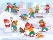 Vector illustration of little children playing outdoors in winter Royalty Free Stock Photo