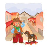 Vector illustration of little cowboy with a wooden horse Stock Images